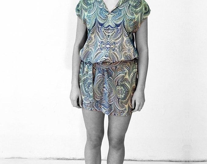ART DECO Dress Tunic, with belt, Viscose, Art Deco, Art Nouveau, digital print, 1920, 1930, 1940s, marbling, art déco,