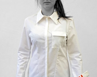PIONEER BLOUSE with Pocket, G.D.R. Uniform, with Print, white, black, red