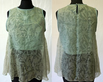 SALE! TOP SILK, layered top, flower, with pocket, lace, wedding, translucent, transparent