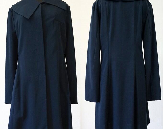 SALE! COAT Asymmetry, wool, pockets, silver, dark blue, long