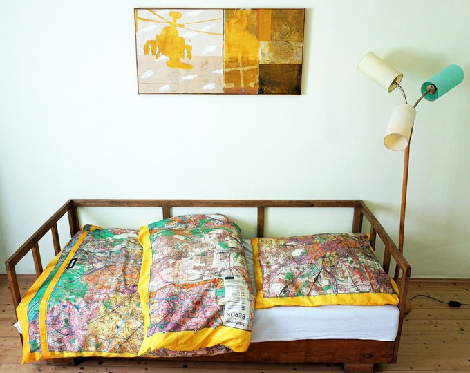 BERLIN Map Duvet Cover, Organic Cotton, digital print, GDR, 1960 years, berlin plan