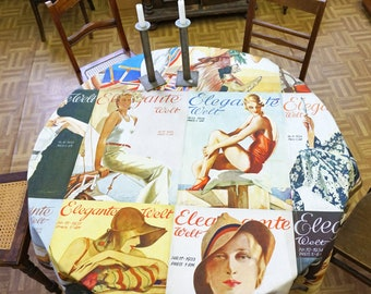 ART DECO TABLECLOTH Organic Cotton, table runner, Beach Towel, Art Nouveau 1930s