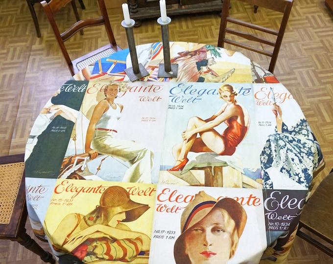 "ART DECO TABLECLOTH German Magazine ""Elegante Welt"", Organic Cotton, table runner, Beach Towel, Art Nouveau, digital print, 1930s"