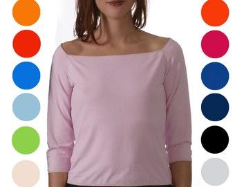 T-SHIRT with big Neckline, Off Shoulder, Dekolleté, Cleavage; short, 3/4 or long Sleeves; Customisation
