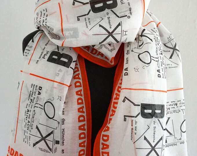 SCARF DADAISM Dada, 100 years Bauhaus, Anna Blume, Surrealism, Drawings, Merz Art, Silk, Cotton, Digital Print