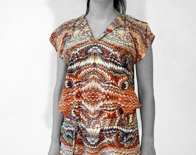 ART DECO Dress, Tunic with belt, Viscose, Art Deco, Art Nouveau, digital print, 1920s, 1930s, 1940s, marbling, art déco,