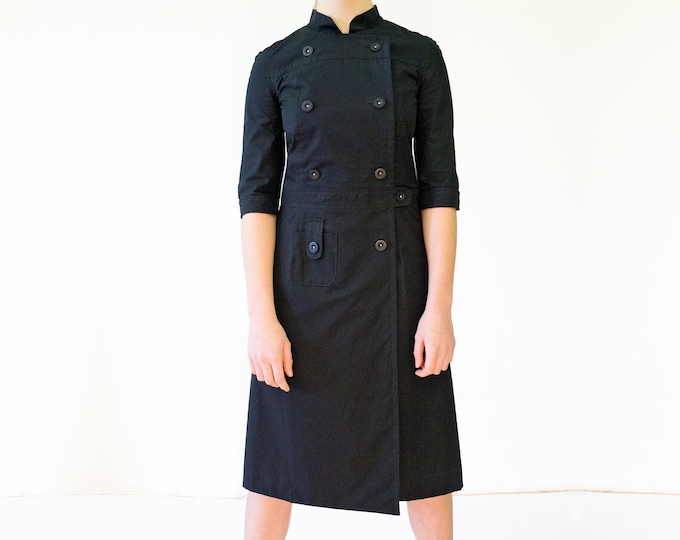CIMONO DRESS with stand up Collar, double row, in different colors, Mao, Nehru, 3/4 sleeves, 1960s
