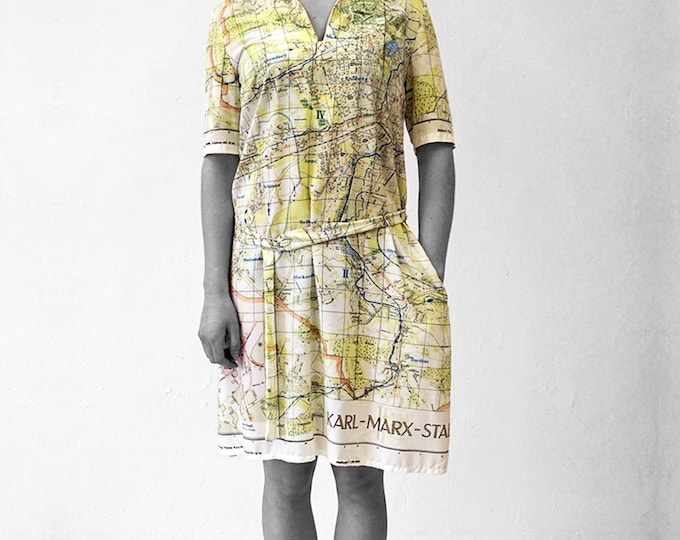 KARL MARX STADT Dress with Belt, 3/4 Sleeves, sailor collar, Socialism, digital print
