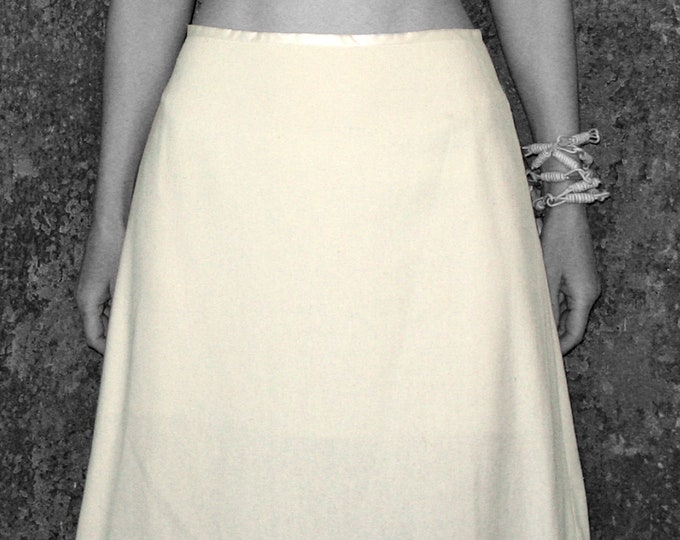 SILK SKIRT with lining, wedding, creme, A-line skirt