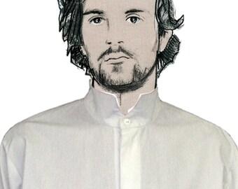 MAN SHIRT stand-up Collar, white, black, blue, cotton, hidden buttons, concealed closure, formal wear, nehru, mao
