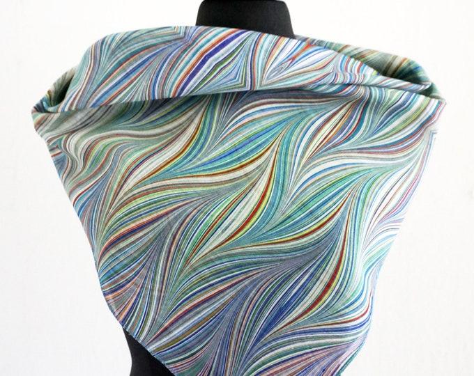 ART DECO SCARF cotton, silk, marbling, digital print, Art Nouveau, 1920s - 1940s