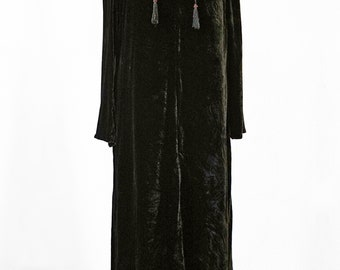 UNIQUE SILK VELVET dress, black, smok, beads, Art Nouveau, art deco, unicat, long