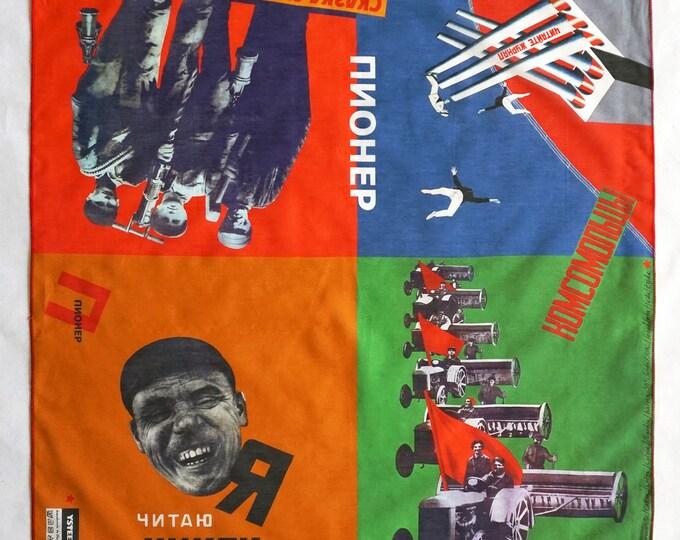 SCARF PIONEER Silk, Cotton, Communism, Revolution, digital print, Soviet Union, workers posters, propaganda, 1920s to 1940s