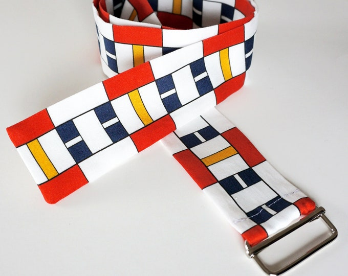 FABRIC BELT 100 years BAUHAUS, De Stijl, Constructivism, Concrete Art, primary colors, Cotton, 1920 - 1940, Digital Print