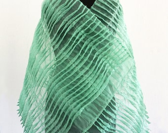 ORGANZA TUCK SCARF pleated shawl, green, translucent, organza, pleated