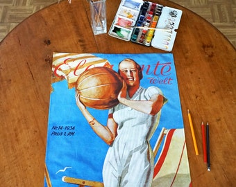 ART-DECO Tea Towel, Table Runner, Placemat, Picture, Organic Cotton