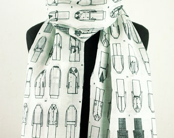 SCARF FASHION ILLUSTRATION  Fashion Drawing, cotton, silk, digital print, 1960s