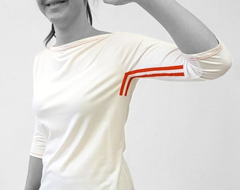 T-SHIRT No. 3 in different colors, 3/4 sleeves, Boat neck, screen print