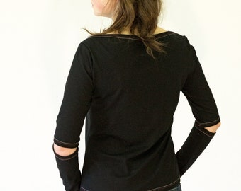T-SHIRT with Sleeves opening, black, white, jersey, cotton