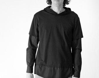 MEN HOODY SHIRT in white or black, Slip form, Jersey, Cotton, layering Shirt