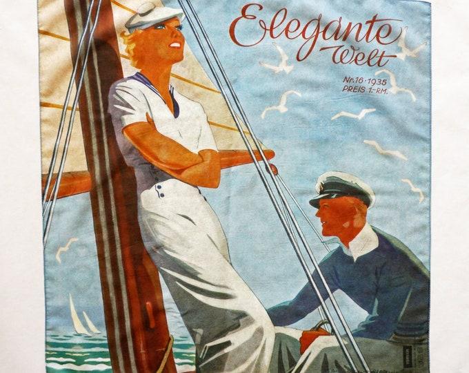 "ART DECO BANDANA ""Sailor"" Scarf, cotton and silk, Art Nouveau, digital print, 1930s"