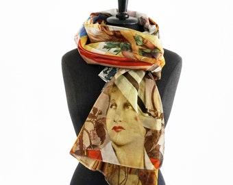 ART-DÉCO SCARF Cotton, Silk, Art Nouveau, pictures of 1930s