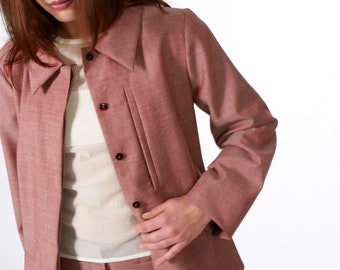 MINIMALIST JACKET with collar in different fabrics, A-silhouette, concealed buttons