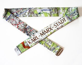FABRIC BELT from organic cotton, Karl-Marx-Stadt map 1960 years