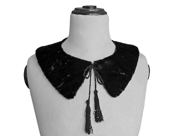 FUR COLLAR with Tassel and Beads, in black and white, handmade