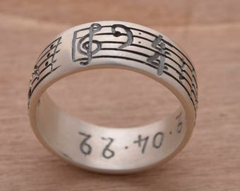 Customized Music Note Ring, Your Favorite Song Ring, Sterling Silver One of a Kind Ring, Personalised Note Ring for Men or Women DA188