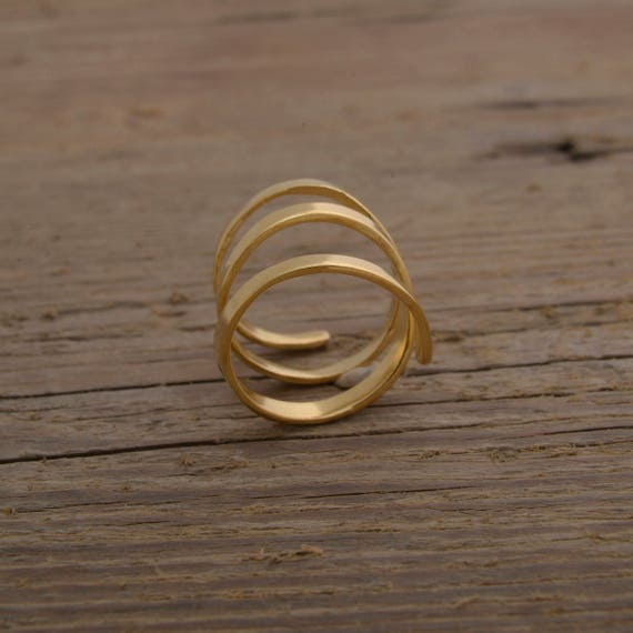 24 Kt Gold Plated Sterling Silver Ring Womens Unique Statement Jewelry Contemporary Gold Ring for Her DE21