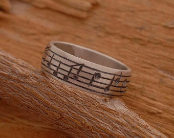Sterling Silver Music Note Ring, Music Ring,  Mens Ring, Note Ring, Music Lover Gift, Music Jewelry DA27