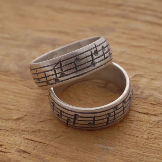 Music Note Wedding Ring Set His And Her Sterling Silver Etsy