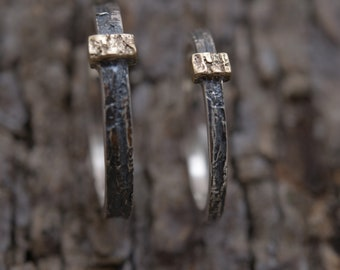 Tree bark wedding band set in sterling silver & gold 14KT, 3mm -  2mm wide matching wedding rings, BE181