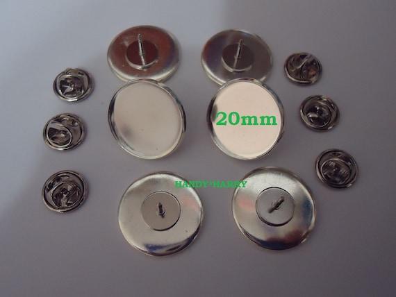20mm Brooch Base Pins Button Set Craft Making Pin Back 10 Pieces Brass