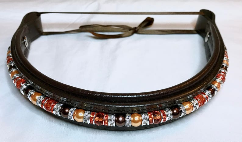 Full Size Beaded Browband  Fully custom with interchangeable image 0