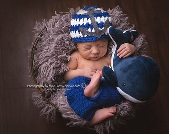 Newborn anchor set, nautical, baby boy, photography prop, navy, baby shower, baby gift