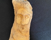 Unique Tree Spirit Wood Face Carving On Bark Signed Canada 7