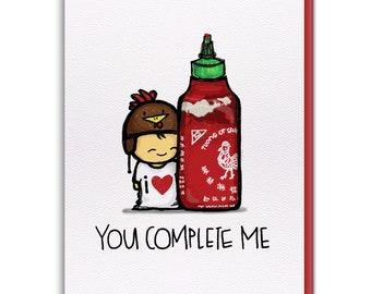 Card - Sriracha YOU COMPLETE ME