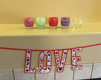 Homemade embellished Felt LOVE banner vintage style