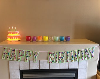 Vintage style Happy Birthday Banner Made to Order