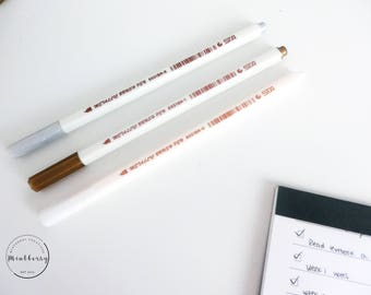Metallic Brush Pens Trio Set Gold Silver White
