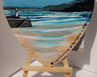 Regatta Original  Mini art by Cornish Artist Lindsey Keates River Fal Includes easel /& signature on reverse.