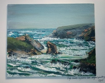 High Winds Kynance Cove on board by Cornish Artist Lindsey Keates Contemporary Realism