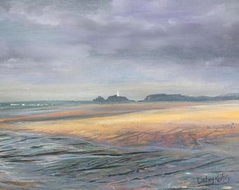 Moody Hues, Godrevy Lighthouse, Gwithian, Cornwall Print by Cornish Artist Lindsey Keates