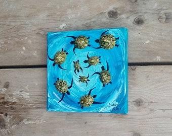 Turtle Swirl Blue by Cornish Artist Lindsey Keates Contemporary Realism