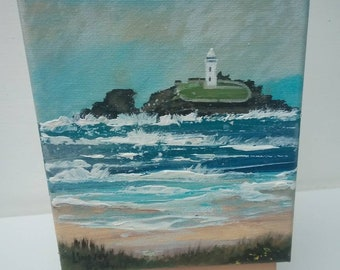 Godrevy lighthouse miniature painting by Cornish Artist Lindsey Keates Contemporary Realism 5x7