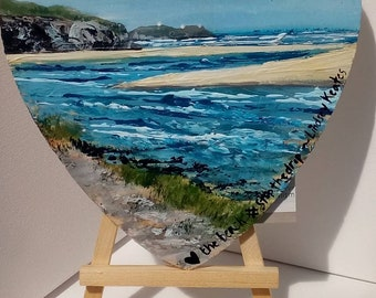 Hayle Estuary,looking to St Ives, original painting on wooden love heart. By Cornish Artist Lindsey Keates Contemporary Realism
