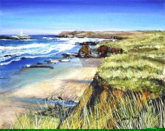 Cliff Tops, Gwithian, Cornwall Print by Cornish Artist Lindsey Keates