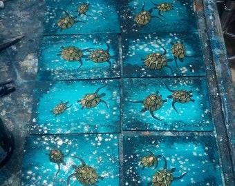 Turtle postcards mini art paintings on wood by Cornish Artist Lindsey Keates Contemporary Realism.